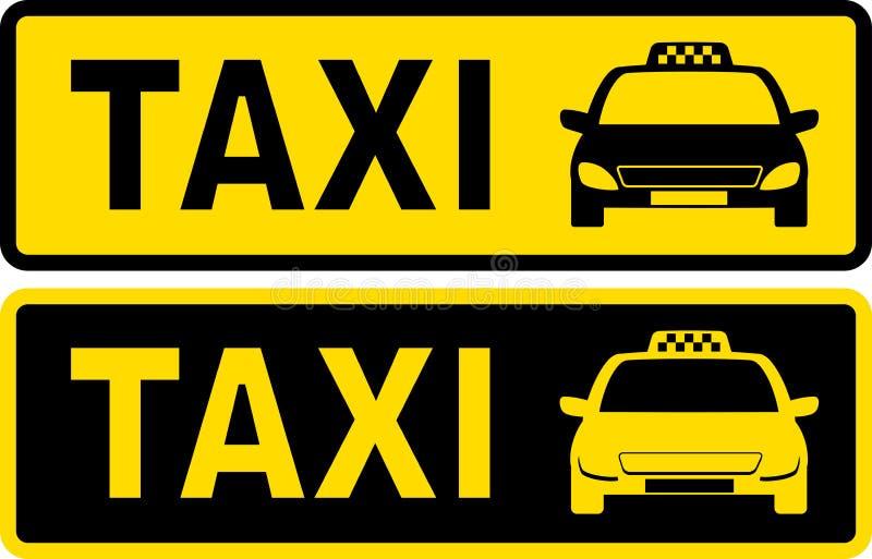 Svart och gult taxitecken vektor illustrationer