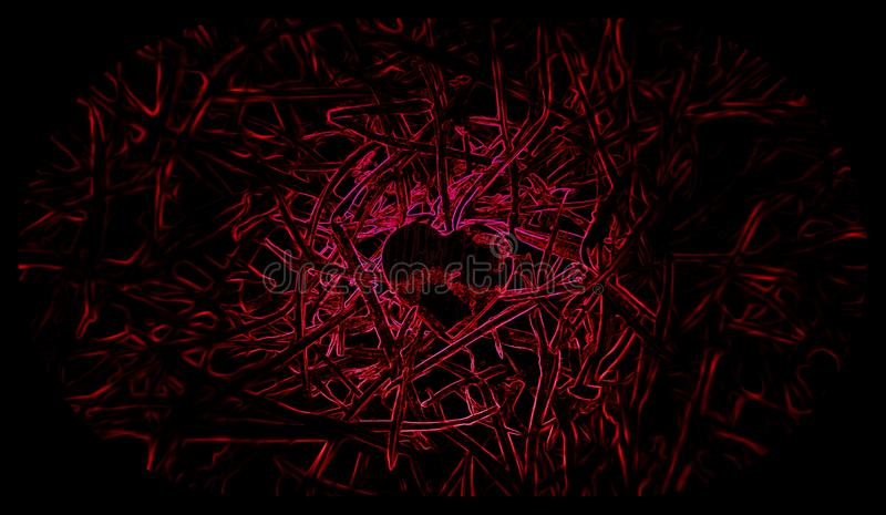 Svart och röd bakgrund för liten hjärta illustrationer vektor illustrationer
