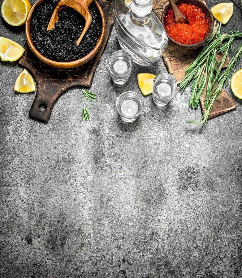Svart och röd kaviar med en karaff av vodka royaltyfria bilder