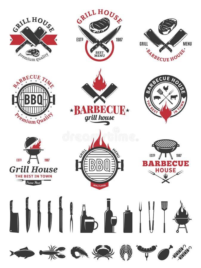 Svart och röd logo för grillfest och etiketter royaltyfri illustrationer