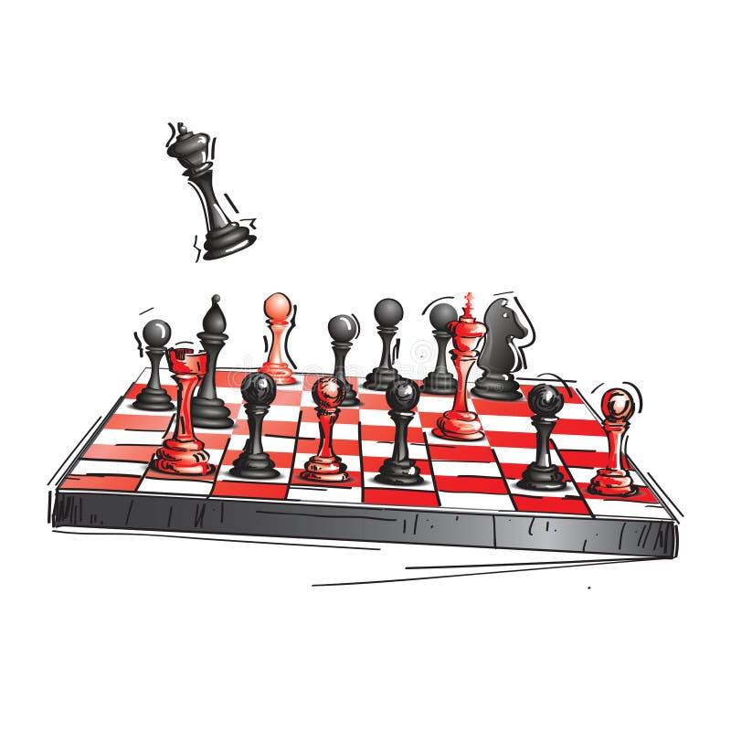 Svart och röd schackbräde med schack stock illustrationer