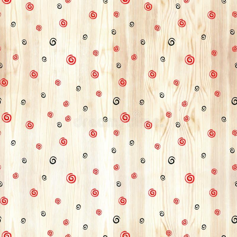 Svart och röd spiral på sömlös modell för wood textur Svart- och röd linjecirklar på vit bakgrund Geometrisk runda stock illustrationer