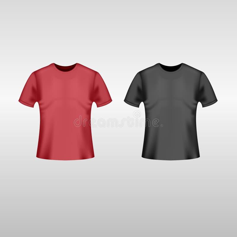 Svart och röd T-tröja vektor illustrationer