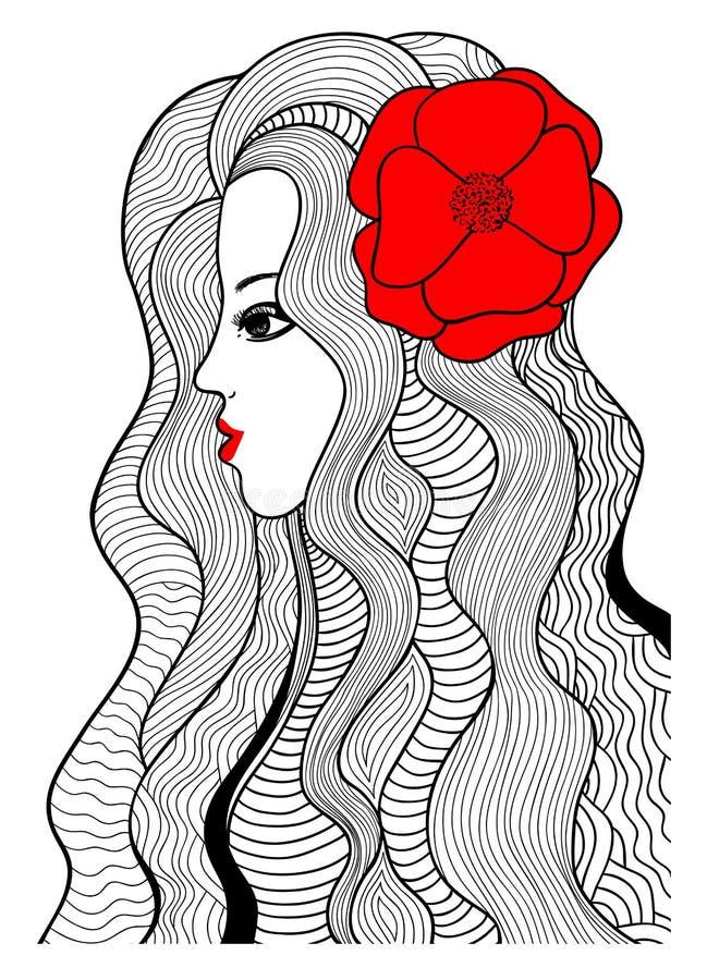 Svart och röd vektorillustration royaltyfri illustrationer