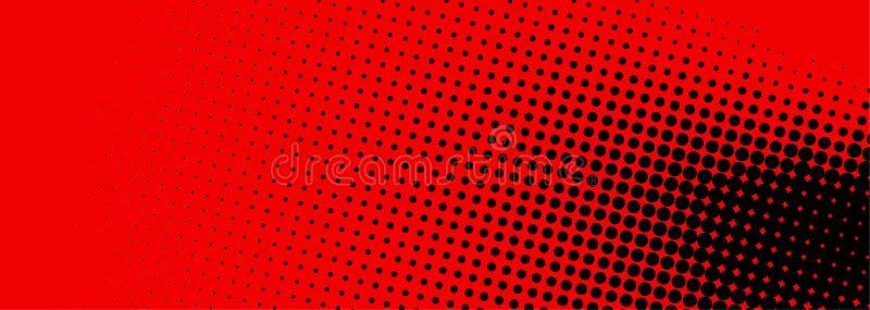Svart och rött prickigt rastrerat baner vektor illustrationer