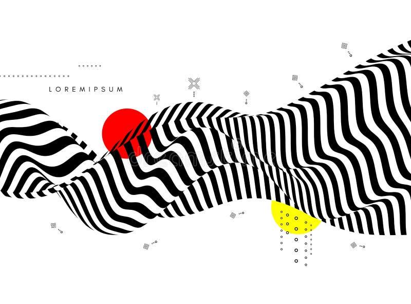Svart och vit bakgrund med optisk illusion Mönster kan användas som mall för broschyr, årsrapport, tidskrift, affisch stock illustrationer