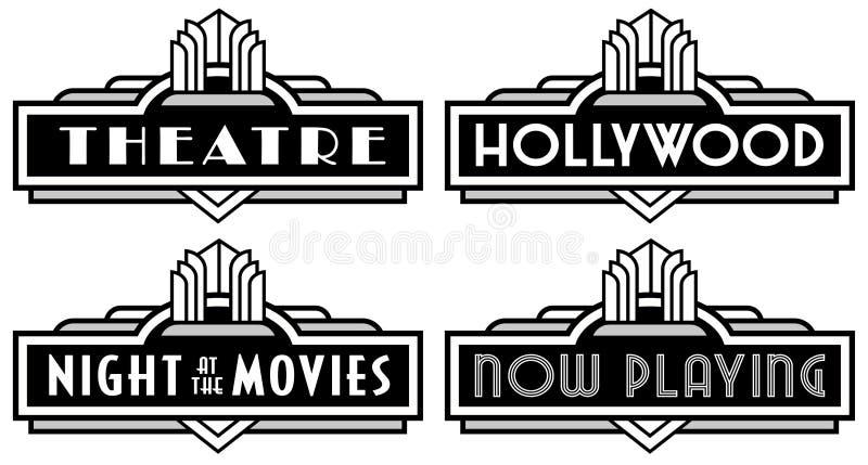 Svart och vit film Marquee Hollywood Theater som spelar Vector nu vektor illustrationer