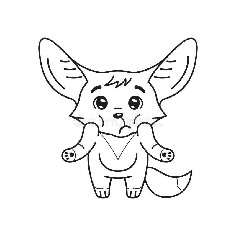 Svart och vit illustration av puzzade fennec-rävar som skakar sina axlar royaltyfri illustrationer