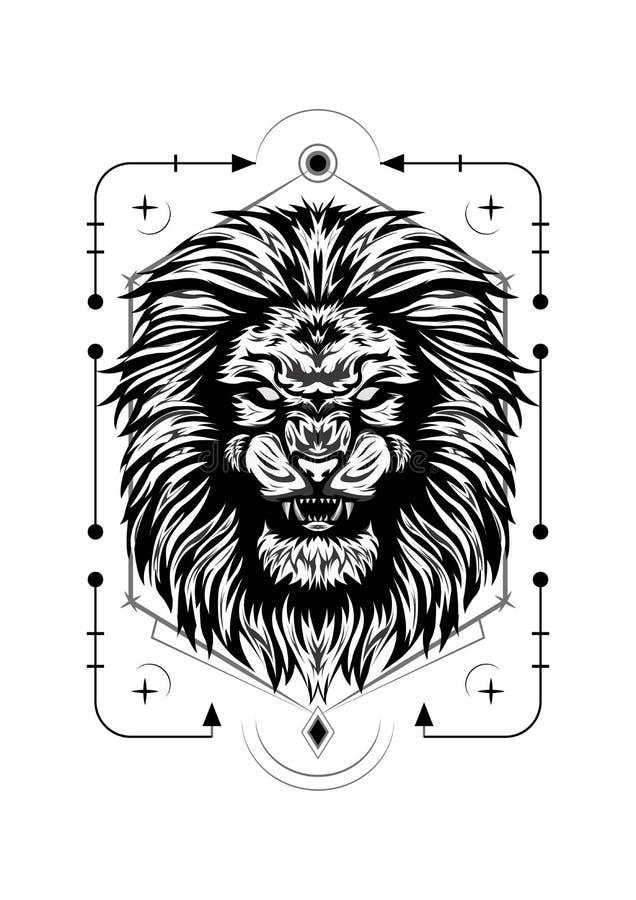 Svart och vitt lejonansikte, vektorillustration för t-shirts design arkivfoto