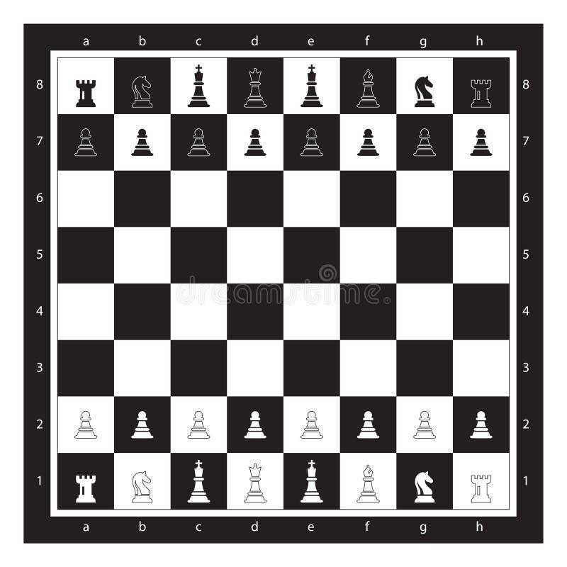Svart och vitt schackbräde med Chess Figurine Algebraic Notation Bild på Chess Game Vector vektor illustrationer