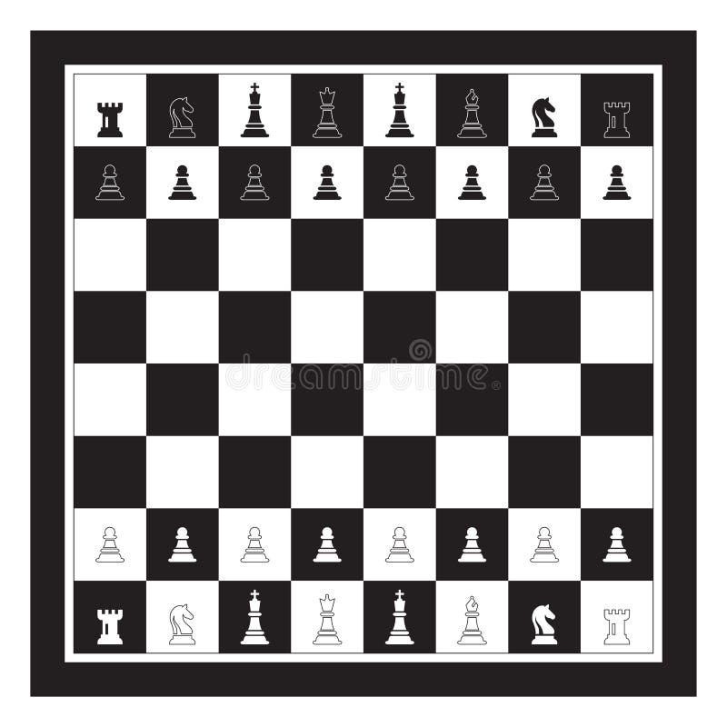 Svart och vitt schackbräde med Chess Figurine Bild på Chess Game Vector vektor illustrationer
