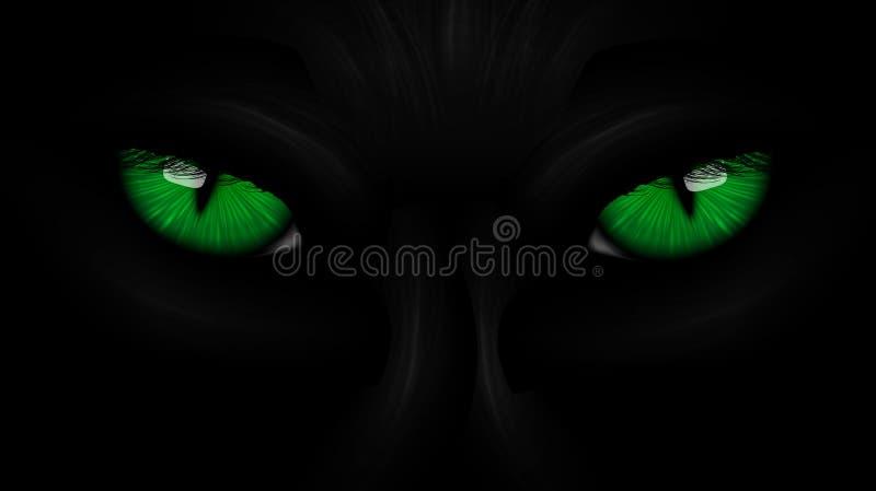 Svart panter för gröna ögon på mörker stock illustrationer
