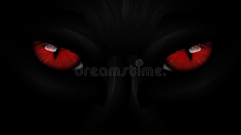 Svart panter för röda ögon på mörker royaltyfri illustrationer