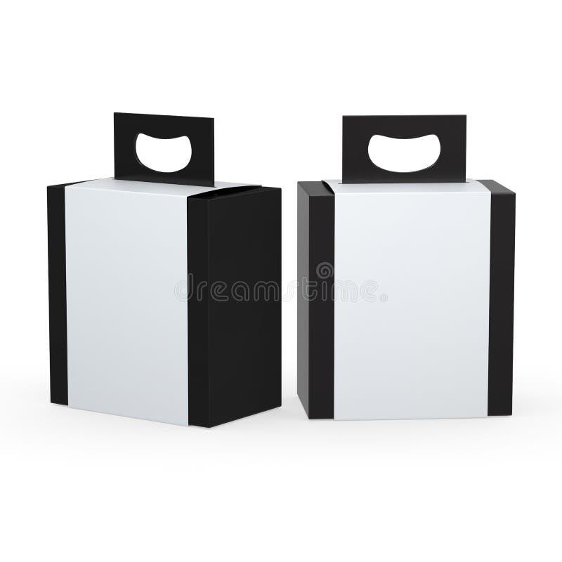 Svart pappers- ask med vitt förpacka för sjal som och för handtag fäster ihop PA vektor illustrationer