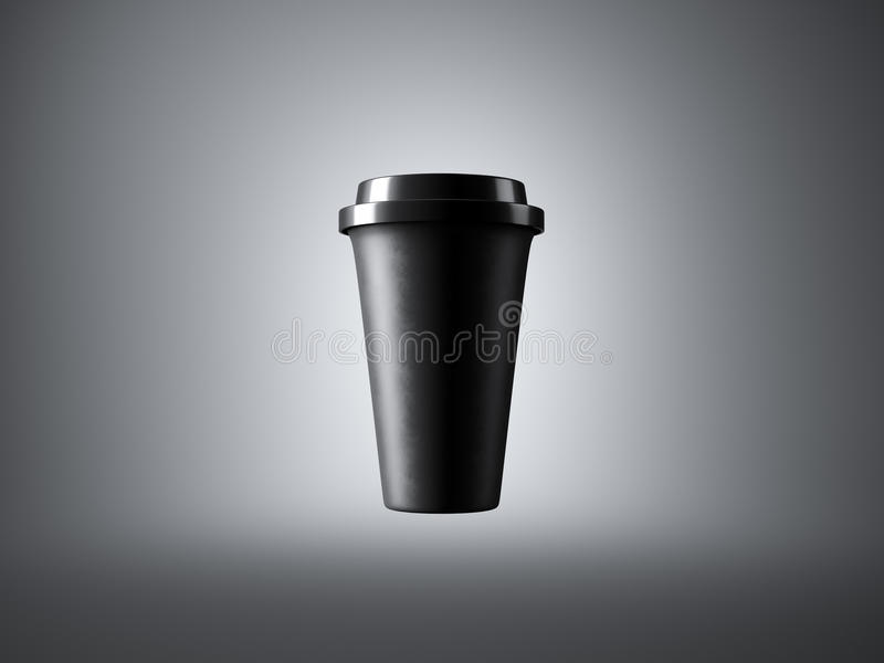 Svart pappers- kopp på den gråa bakgrunden 3d arkivfoton