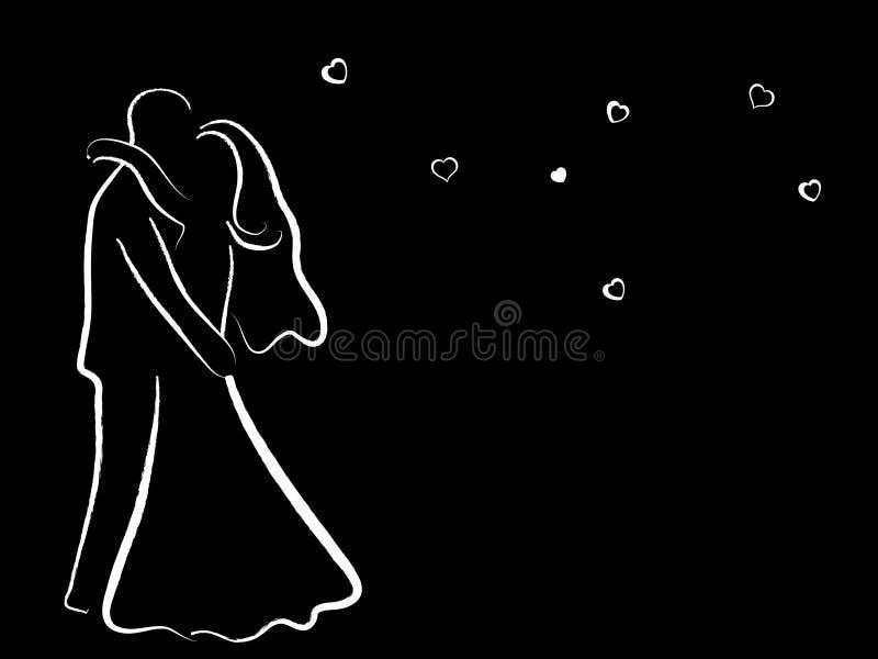 svart parbröllop vektor illustrationer