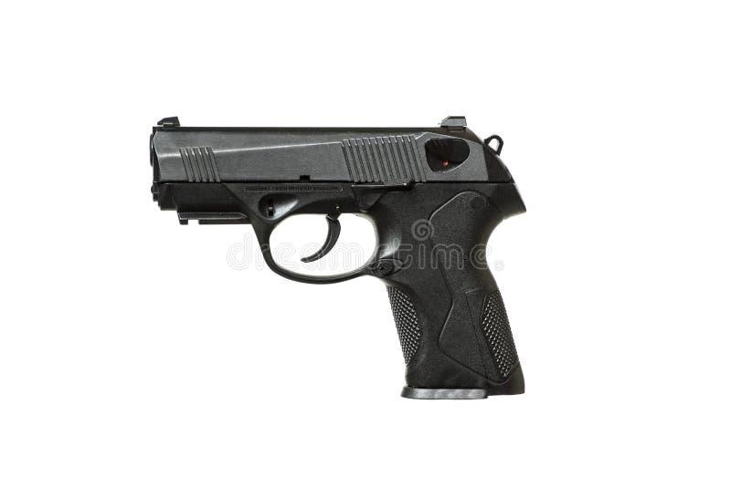 Svart pistol på vit bakgrund arkivbilder