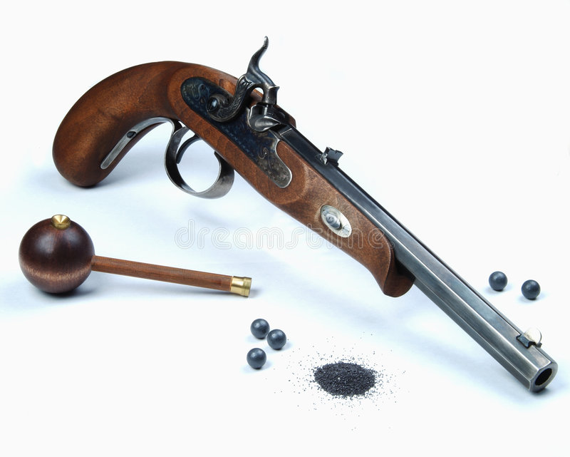 svart pistolpulver arkivfoto