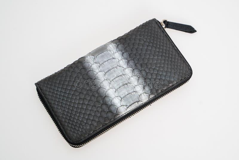 Svart plånbok med det gråa bandet i mitt av ormhud som isoleras på vit bakgrund arkivbilder