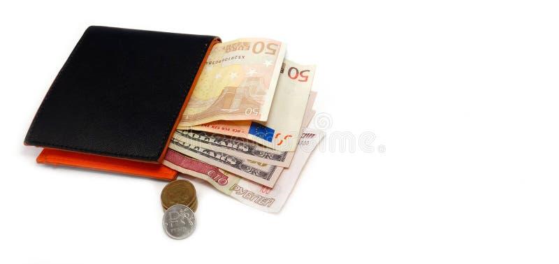 Svart plånbok med 50 dollar 100 rubel royaltyfri bild