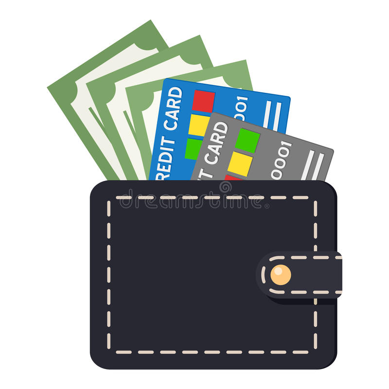 Svart plånbok med kreditkortar & sedlar stock illustrationer