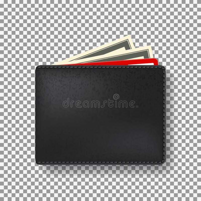 Svart plånbok på den genomskinliga bakgrunden stock illustrationer
