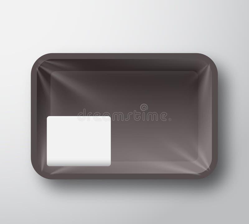 Svart plast- mat Tray Container med den genomskinliga cellofanräkningen och klar vit klistermärkeetikettmall i ett hörn royaltyfri illustrationer