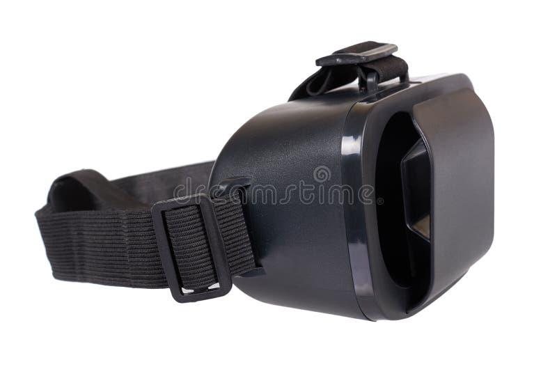 Svart plast- VR-hörlurar med mikrofon, virtuell verklighetmaskering arkivfoto