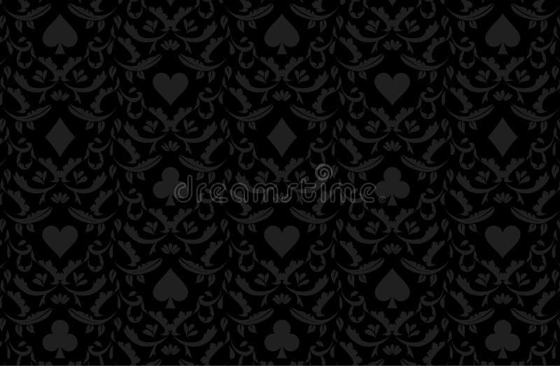 Svart pokerbakgrund för lyx med kortsymboler vektor illustrationer