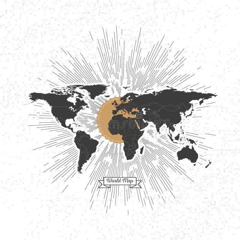 Svart politisk världskarta med tappningstilstjärnan stock illustrationer