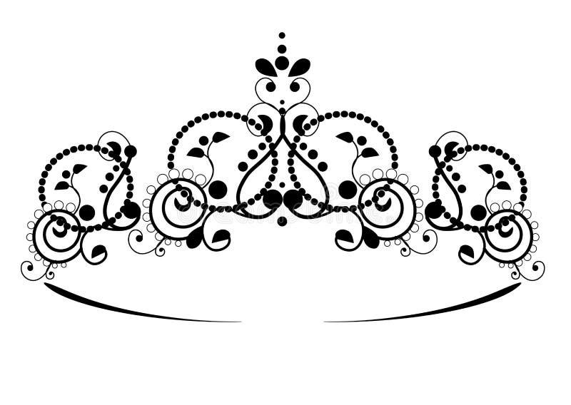 Svart prinsessadiadem p? en wightbakgrund Kronan ocks? vektor f?r coreldrawillustration royaltyfri illustrationer
