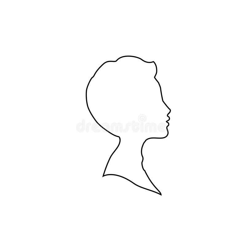 Svart profilöversiktskontur av pojke- eller manframsidaprofilen på vit bakgrund stock illustrationer