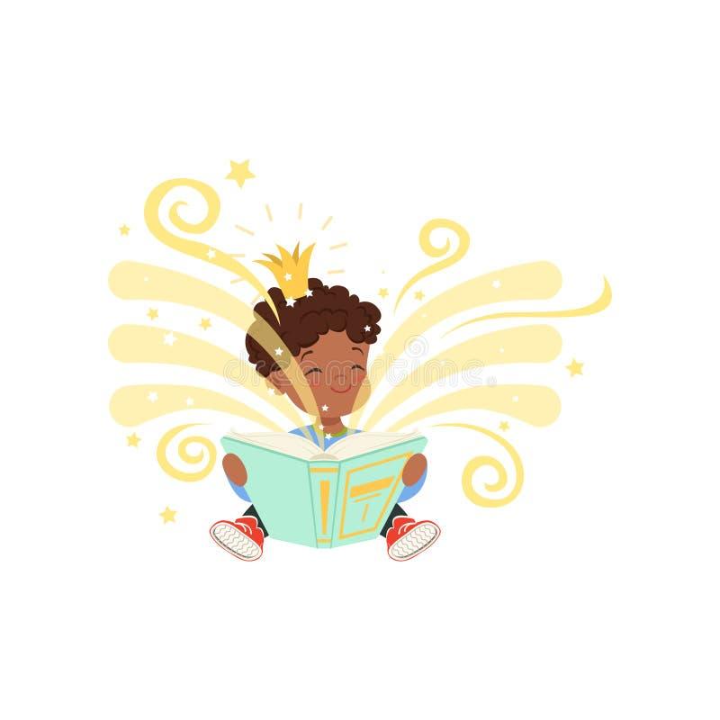 Svart pyssammanträde på golv och den läs- magiska boken med fantasiberättelser Tecknad filmungetecken med den guld- kronan vektor illustrationer