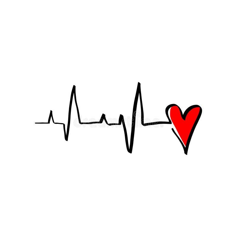 Svart röd stil för monoline för illustration för hjärtakardiogramvektor Romantiskt hjärtslag för tecken för minimalismkalligrafif royaltyfri illustrationer