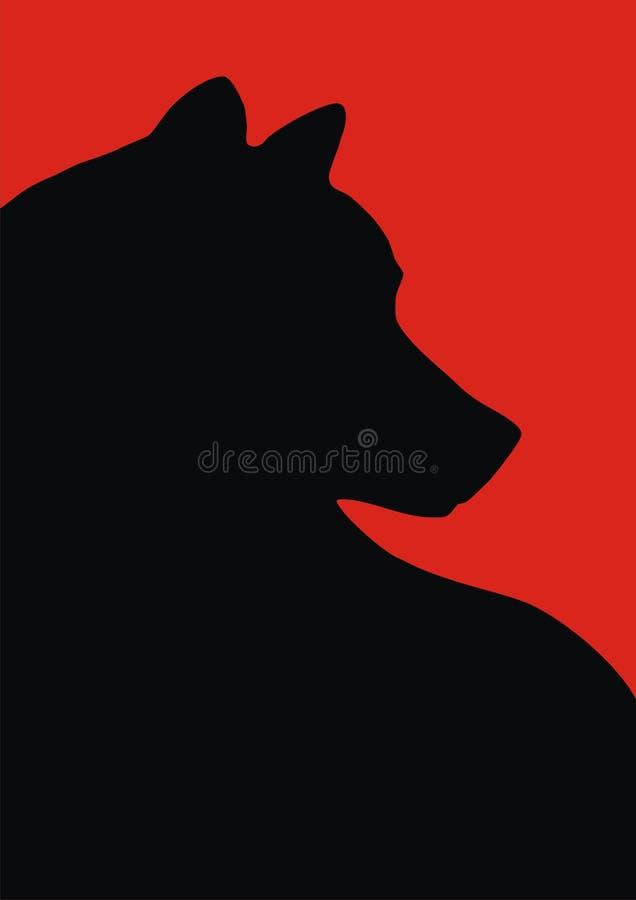 svart röd wolf för bakgrund stock illustrationer