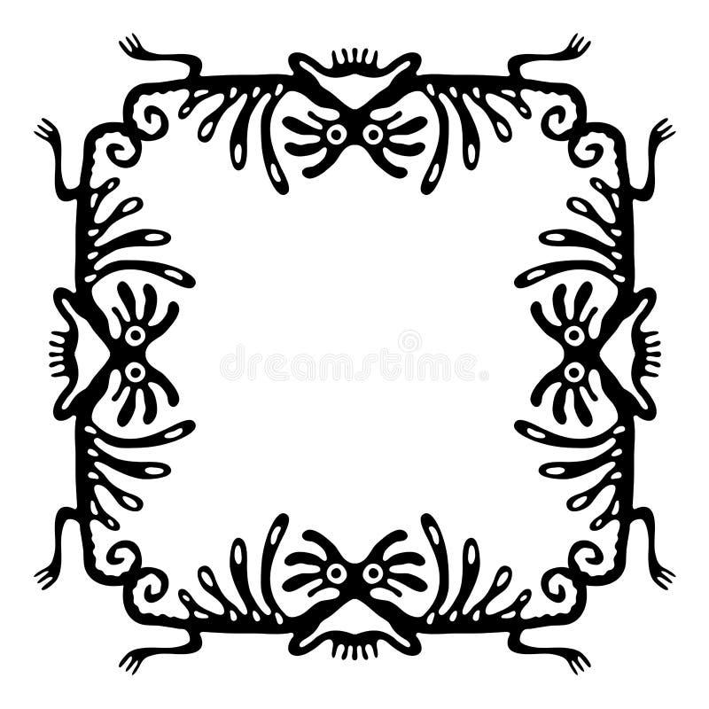 Svart ram, designbeståndsdel med drakar, vektor royaltyfri illustrationer