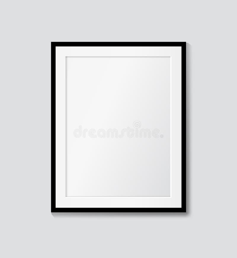Svart ram med passepartout på väggen Vektor?tl?je upp vektor illustrationer
