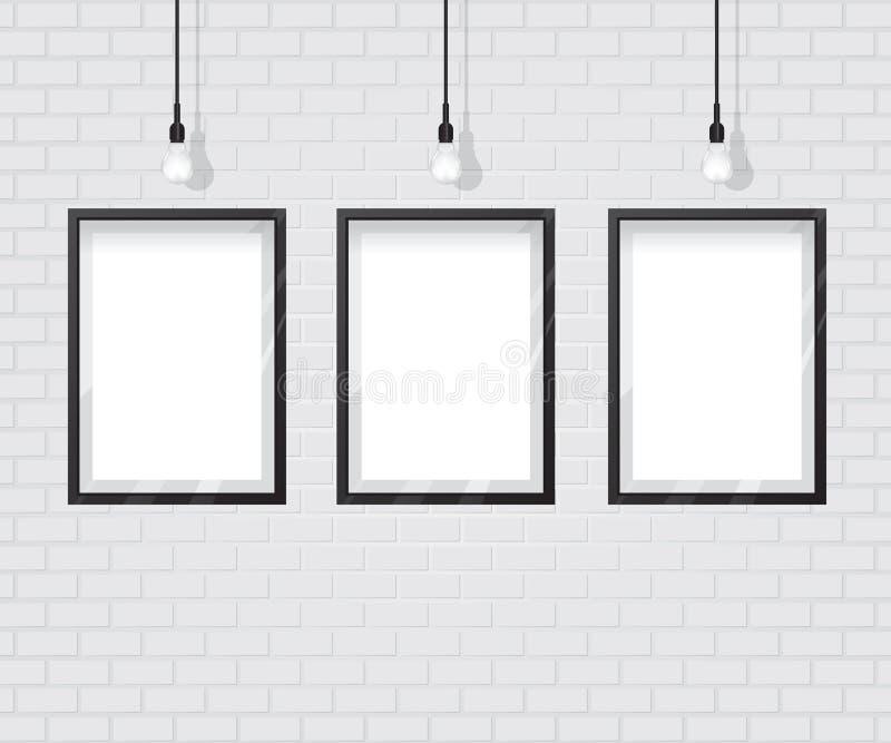 Svart ram på tegelstenväggen royaltyfri illustrationer