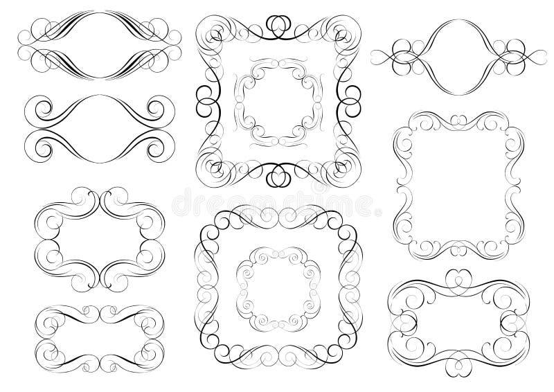 Svart ramuppsättning royaltyfri illustrationer