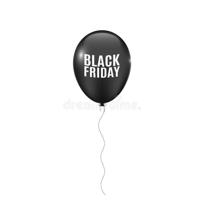 Svart realistisk ballong som isoleras på vit bakgrund Skuggan av bollarna svarta friday stor försäljning Stora rabatter vektor royaltyfri illustrationer
