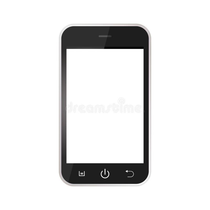 Svart realistisk mobiltelefon med den tomma skärmen som isoleras på vit bakgrund Svarta Smartphone med den vita sk?rmvektorn eps1 stock illustrationer