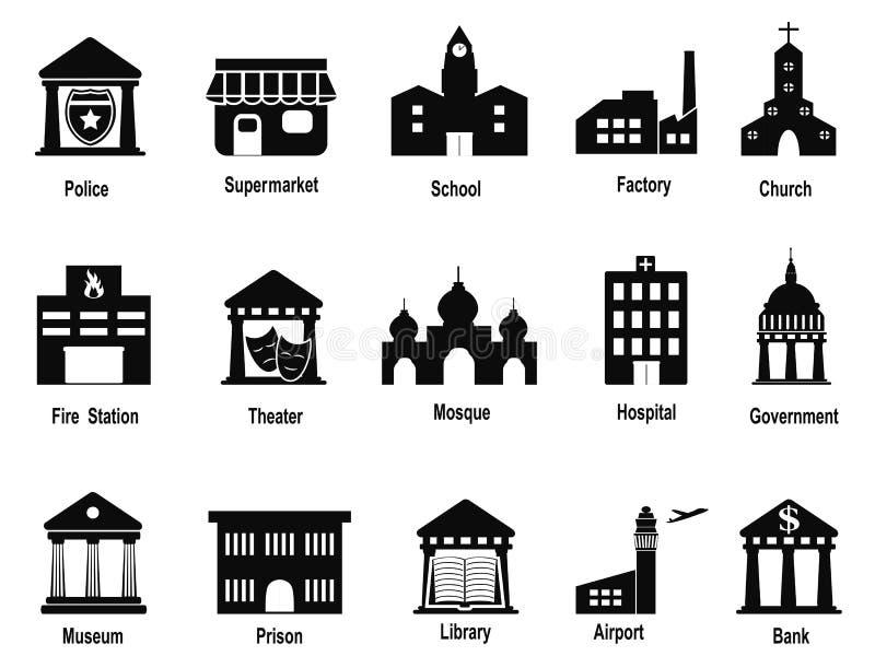 Svart regerings- byggnadssymbolsuppsättning stock illustrationer