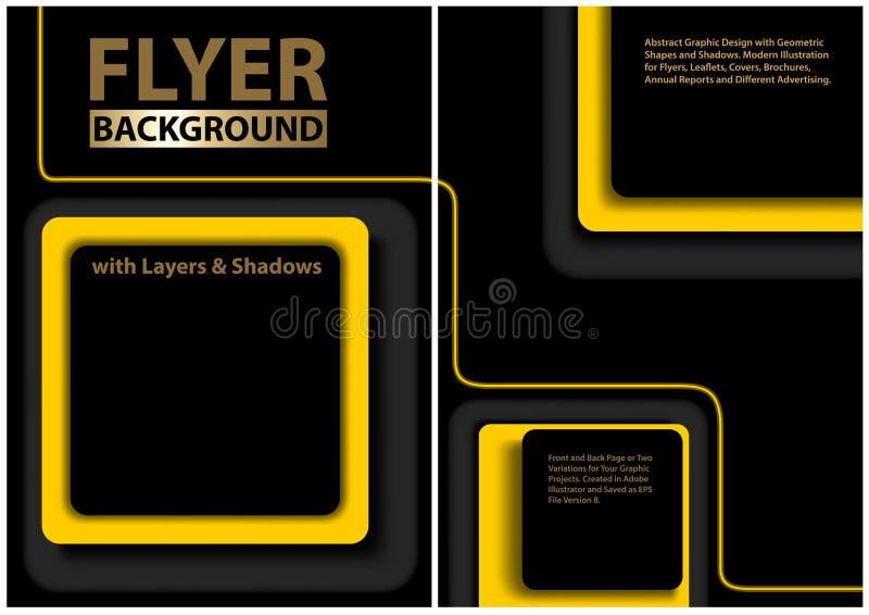 Svart reklambladmall med gula geometriska former royaltyfri illustrationer