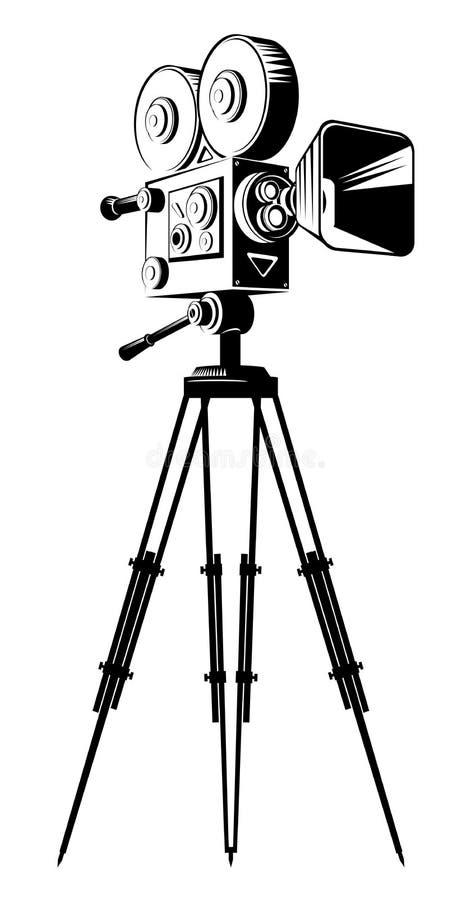 Svart retro filmkamera på en tripod royaltyfri illustrationer
