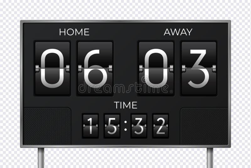 Svart retro funktionskort Klocka för stadionfotbollnedräkning, målsportresultat, elektronisk tidpanel Vektorställning och tid vektor illustrationer