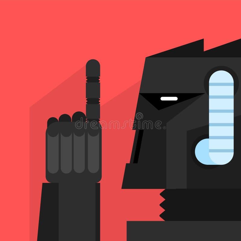 Svart robot med fingret upp stock illustrationer