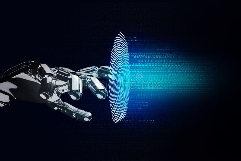 Svart robotic hand som knäcker fingeravtrycklösenord i faktiskt utrymme stock illustrationer