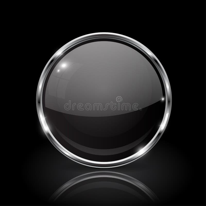 Svart rund glass knapp symbol 3d med metallramen royaltyfri illustrationer