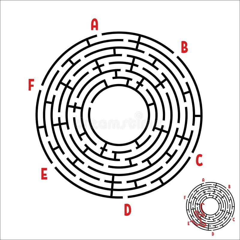 Svart rund labyrint modiga ungar Pussel för barn` s Många ingångar, en utgång Labyrintgåta Enkel plan vektorillustratio vektor illustrationer