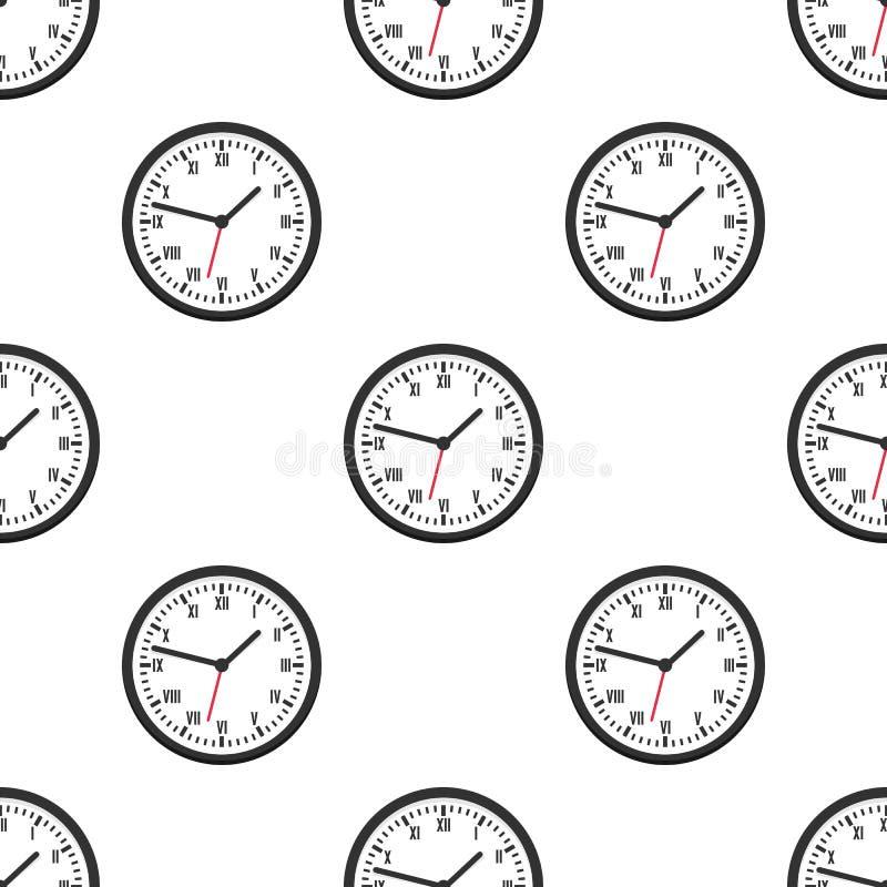 Svart rund sömlös modell för väggklocka stock illustrationer